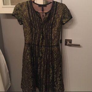 Bcbgmaxazria green and gold dress size 0!